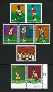 Paraguay 1983 Sc#2189a-f,#2190  Tennis Players   MNH Set with Label $4.50