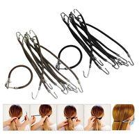 10Pcs Girls Hair Ponytail Hooks Holder Braids Bungee Bands Elastic Clips