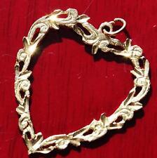 10k yellow gold pendant large diamond cut open heart charm vintage handmade 1.8g