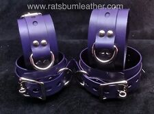 Lockable PURPLE LEATHER Adult Restraint wrist ankle cuffs wristband bracelet