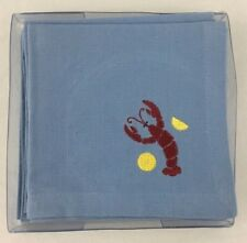 Nautical Lobster Lemons 4 Cloth Cocktail Napkins Cotton by TAG Blue 10 In Square