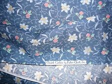 "Ozark 2 yd x 44"" Vtg Blue multicolor Floral DRESS Sew cotton quilt Fabric Doll"