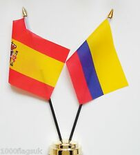 Spain & Colombia Double Friendship Table Flag Set
