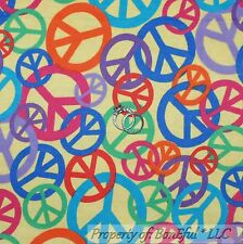 BonEful Fabric FQ Cotton Quilt Flannel Yellow Pink Purple Baby Hippie Peace Dot