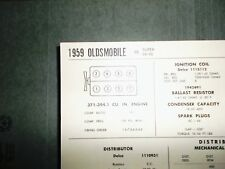 1959 Oldsmobile 371-394.1 CI V8 SUN Electric Tune Up Chart Excellent Condition!