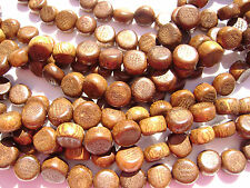 CL-123 Wood Bead Robles Handmade Brown Wax Polished, Disc 4x6mm, 16 in strand