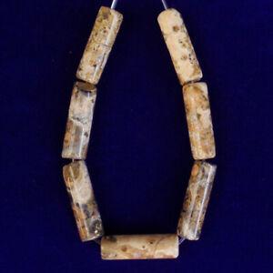 7Pcs/Set Yellow Leopard Skin Jasper Column Pendant Bead M10082