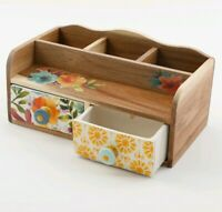 The Pioneer Woman Willow Flatware Caddy Wooden with Ceramic Front Drawers NWT