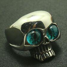 Blue Eye Ball Skeleton Skull Biker Ring 20mm Cool Men Fashion Accessories Rings
