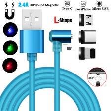 360° Round L Shape Magnetic LED Micro USB&IOS&Type C Fast Charger Charging Cable