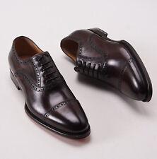 NIB $990 SANTONI FATTE A MANO Brown Calf Captoe Shoes US 6 D Brogue Detail