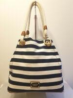 Michael Kors Striped Marina Canvas Grab Beach Bag Cruise Bag