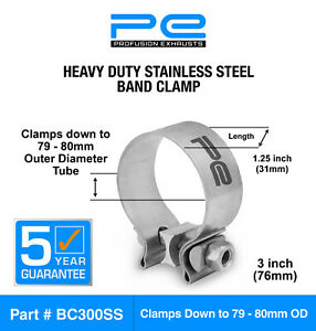 """Exhaust Band Clamp 3"""" Inch 76mm (79-80mm) Heavy Duty Stainless Steel Clamp"""