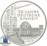 BRD 10 DM 10 Jahre Deutsche Einheit 2000 Silber Stempelglanz Münze in Münzkapsel