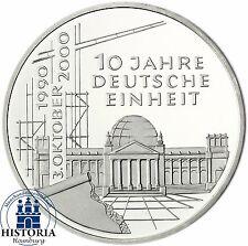 RFA 10 DM 10 Ans Unité Allemande en Argent 2000 Tampon Brillance pièce dans münzkapsel