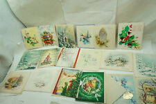 VINTAGE CHRISTMAS CARDS UNUSED LOT 18 1950s PIXIES TOY STORE LIVING ROOM VIEW 1e