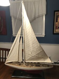 """1937 Yacht Model approx 34"""" tall 24 long America's Cup Defender Ranger Sail Boat"""