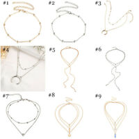 Charm Multilayer Women Alloy Clavicle Choker Necklace Gold Chain Fashion Jewelry