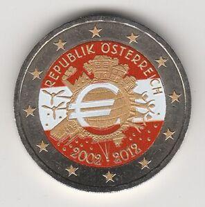 A 2012A AUTRICHE -- 2 EURO COULEUR -- 10 ANS DE L'EURO