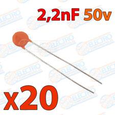 20x Condensador 2,2nF 2200pF 50v 222 ceramico PCB PIC Arduino