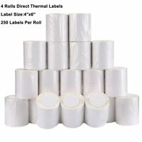 4 Rolls 4x6 Direct Thermal Labels 250/Roll For Zebra Eltron 2844 ZP450 ZP505