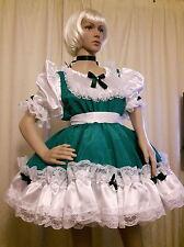 Sissy Adult Baby Green and White Satin Celtic Dancer Dress