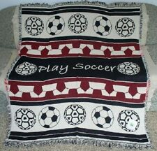 New NWT Soccer Ball Cotton Afghan Throw Blanket Red Mom Stadium Coach Team GIFT