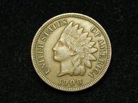 SUMMER SALE!! XF 1908 INDIAN HEAD CENT PENNY w/ DIAMONDS & FULL LIBERTY #106c