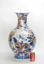 """26"""" Chinese Qing Underglaze Iron Red Enamel Dragon Blue and White Porcelain Vase"""