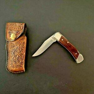Schrade Folding Knife Uncle Henry LB5  Tooled Leather Case Pocket Knife Lockback