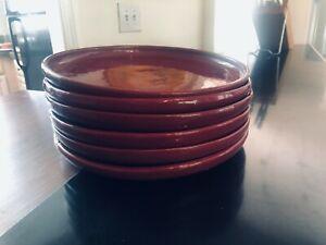 "6 Bybee Pottery Burgundy Dinner Plates 10.5"""