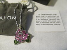 "AVON  Sterling Silver Spring Inspirations Necklace 19"" L  ROSE"
