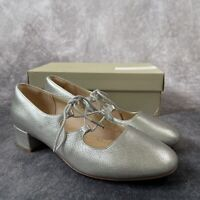 CLARKS Orabella Sofia Silver Leather Soft Lace Up Heeled Shoes UK 7 D Fit Boxed