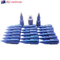 20pcs 12x1.25 For Nissan Subaru Suzuki Aluminum Lock Lug Nuts With Spikes Blue