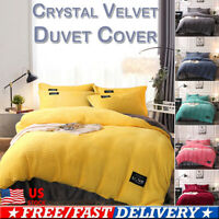 Plush Shaggy Duvet Cover Fur Velvet Bedding Hidden Zipper Blanket Queen King