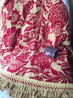 """VTG Italian Woven Brocade Tapestry Heavy Red & Gold Round 82"""" Tablecloth Fringe"""