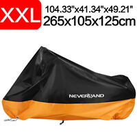 XXL Waterproof Motorbike Motorcycle Bike Cover Vented UV Protector Orange+Black