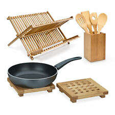 3 tlg. Küchen Set Abtropfgestell Geschirr Kochlöffel Pfannenwender Untersetzer