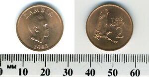 Zambia 1983 - 2 Ngwee Copper Clad Steel Coin - K.D. Kaunda - Martial Eagle