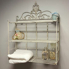 Shabby Chic Vintage Wall Shelf Storage Unit Display Metal Rack Bathroom Plant