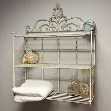 Shabby Chic Vintage Wall Shelf Storage Unit Display Metal Rack Bathroom Kitchen