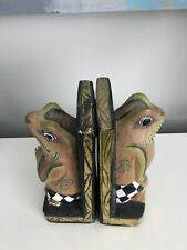 Pair of Carved Wooden Cat Book Ends