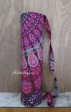 New Indian Pink Multi Handmade Mandala Yoga Mat Carrier Bag with Shoulder Strap