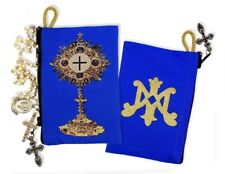Blessed Sacrament Monstrance Symbol of Mary Tapestry Cloth Rosary Pouch Case NEW