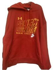 under armour Protect This House Marine Corps L Large Hoodie Red & Yellow Usmc
