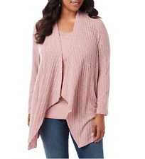 CATHERINES PINK TEXTURED STRIPES SOFT OPEN FRONT CASCADING CARDIGAN Sz 3X 26/28W