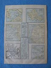1899 Lithograph 8 Map Locations - Manila, Nw Africa, Oahu, Cape Verde Islands +