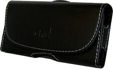 CUSTODIA Universale per Smartphone 125 62 9 mm ECO PELLE NERA Passante Cintura
