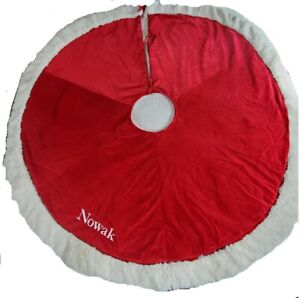 "Pottery Barn Kids Red Velvet Tree Skirt Monogram NOWAK White Fur Trim 54"" x 54"""