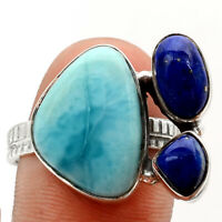 Larimar (Dominican Republic) and Lapis 925 Silver Ring s.9 Jewelry 0474